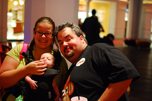 Baby Berto, Mama Berto and Jason Falls at the 2010 Mall Bar Tweet-up