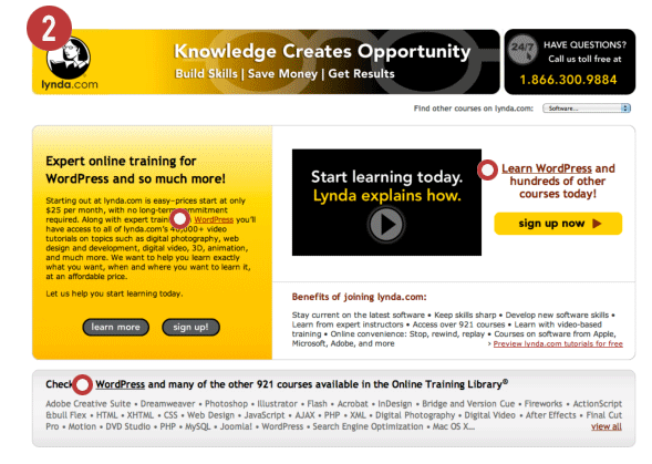 Lynda.com WordPress training landing page