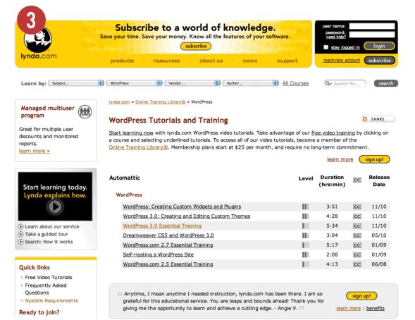Lynda.com WordPress training videos