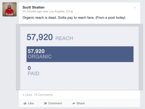 Scott Stratten's organic reach post