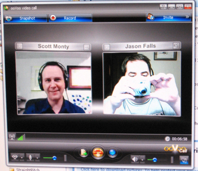 Scott Monty and Jason Falls ooVoo chatting.