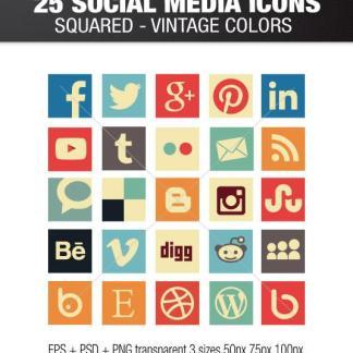 Vintage square social media icons
