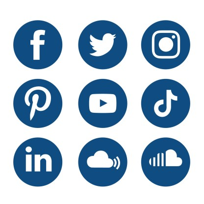 Classic Blue Social Media Icons