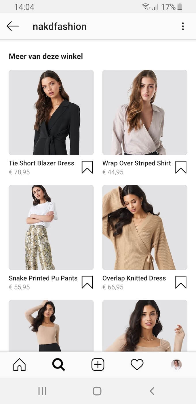 Nakd Instagram shopping