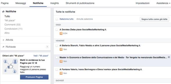 notifiche pagina facebook