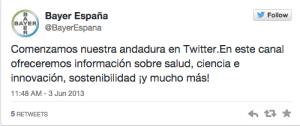 Bayer España 1 Tweet