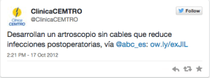 Clinica Cemtro primer tweet
