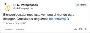 Hosp Paraplejicos Toledo primer tweet