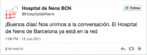 Hospital de Nens primer tweet