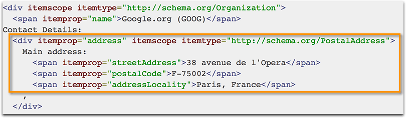 Business address schema code