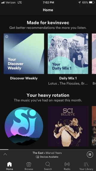 Spotify Mobile Layout