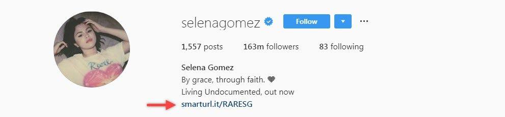 Selena Gomez utilise SmartURL pour son biolink