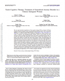 "Asian American Journal of Psychology (2016) — Doris Chang, ""Taoist Cognitive Therapy: Treatment of Generalized Anxiety Disorder in a Chinese Immigrant Woman"""