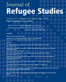 "Journal of Refugee Studies (2018) — Anne McNevin, ""Hospitality as a Horizon of Aspiration (or, What the International Refugee Regime Can Learn from Acehnese Fishermen)"""