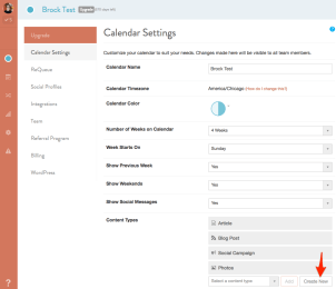 Content Type Settings CoSchedule
