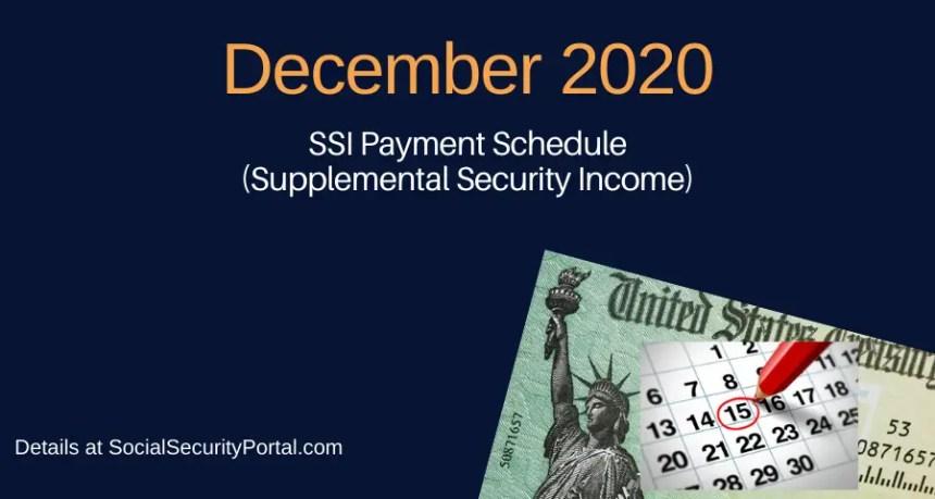 """""""December 2020 SSI Payment Calendar"""""""