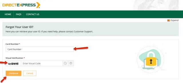 """""""Direct Express forgot password"""""""