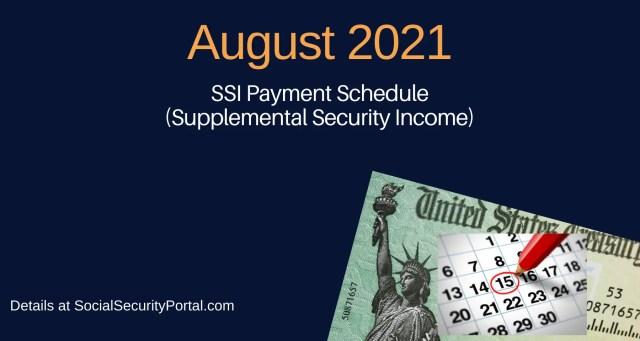 """August 2021 SSI Payment Calendar"""""""