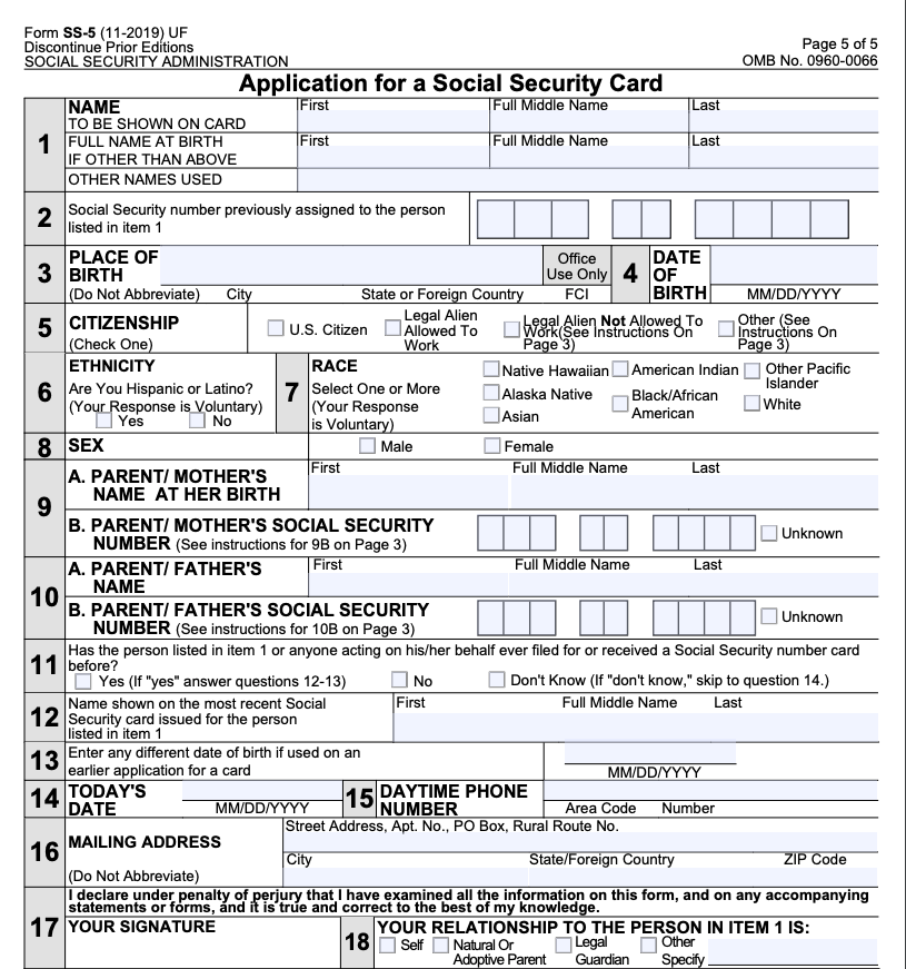 """What does Social Security Form SS-5 look like"""