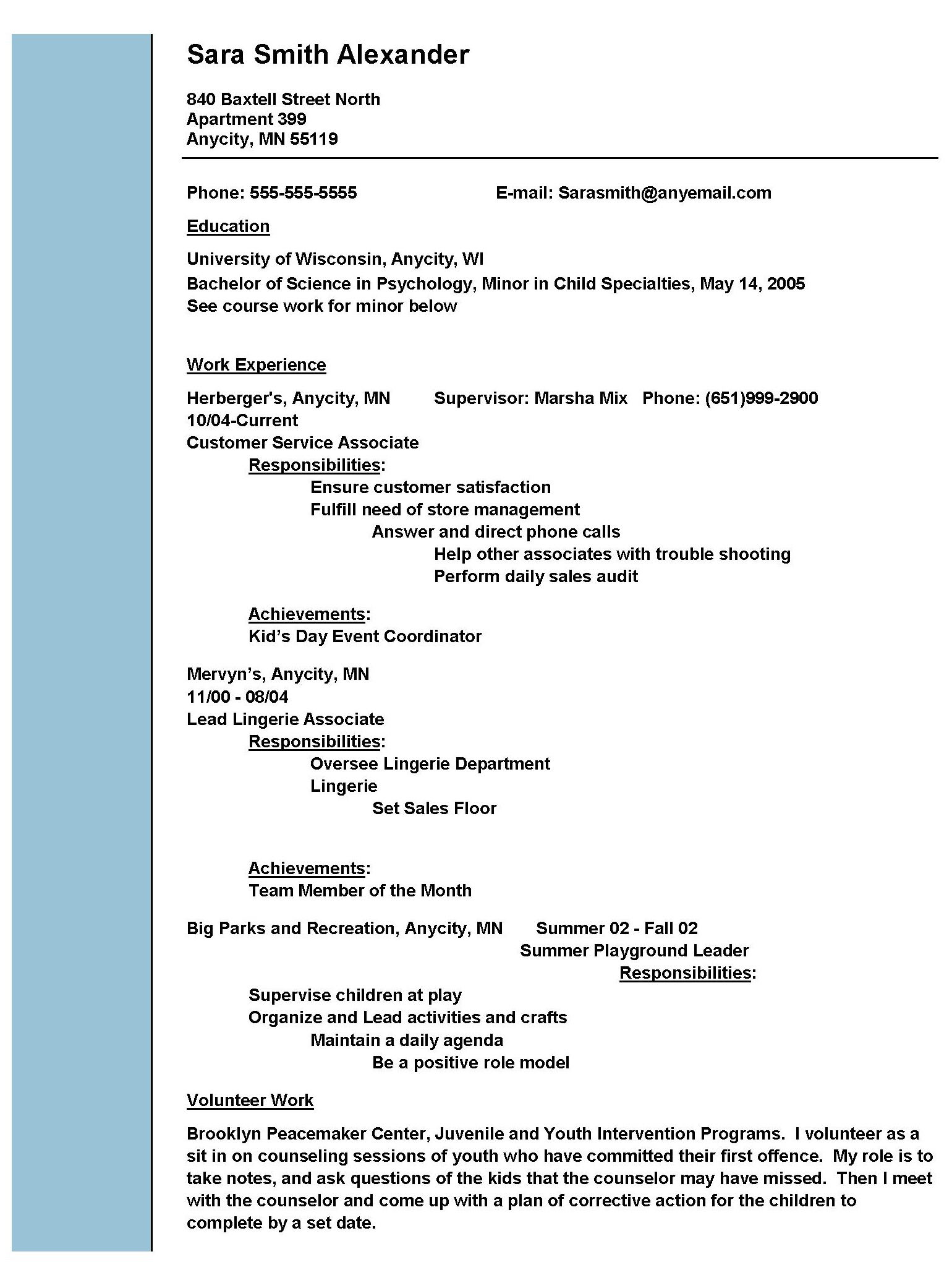 example of a work resume - Examples Of Social Work Resumes