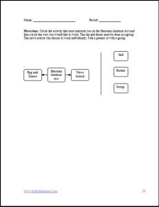 Student Activity Choice Sheet