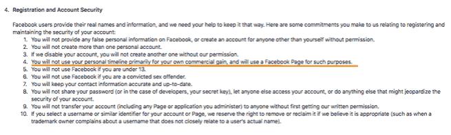 Facebook Profile Rules