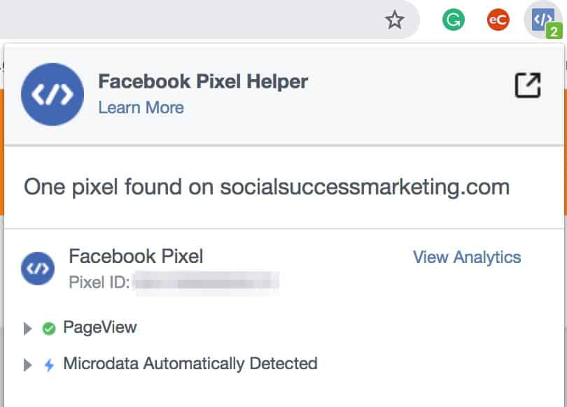 Facebook Pixel remarketing tracking code