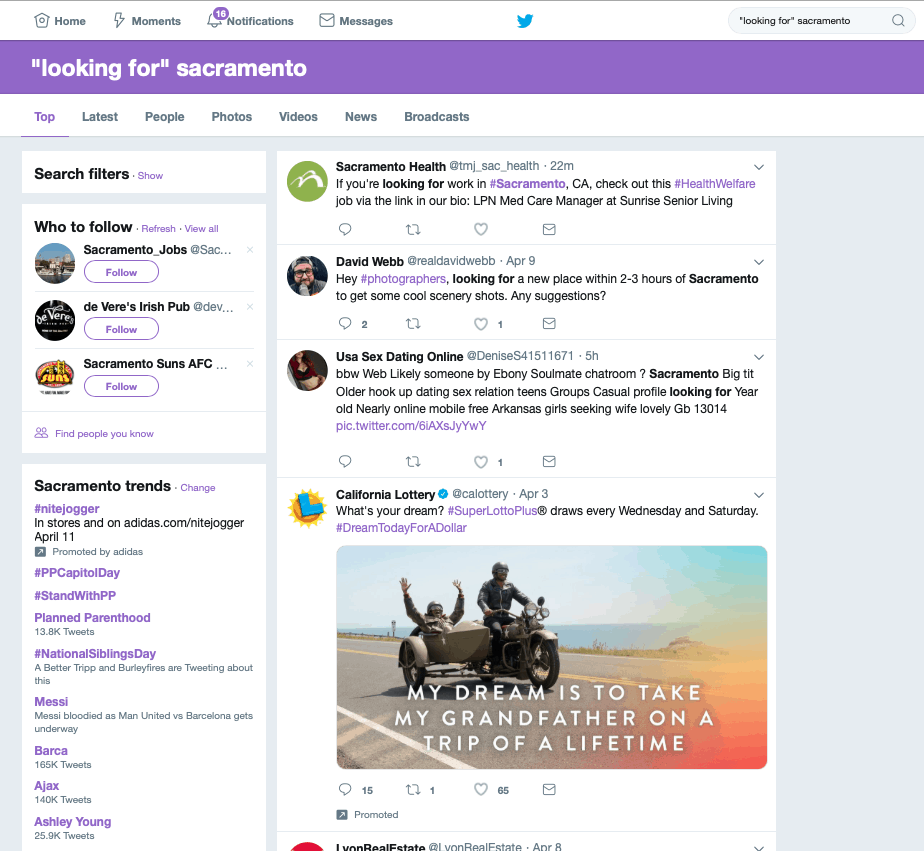 twitter local search results Sacramento