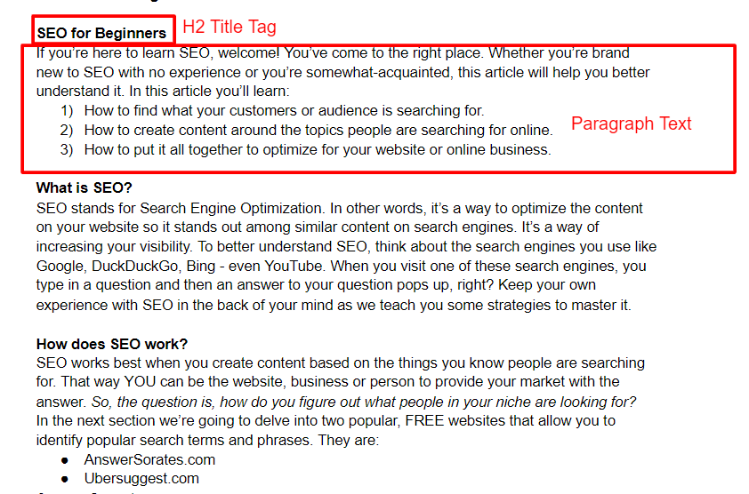 Example of how to write for SEO