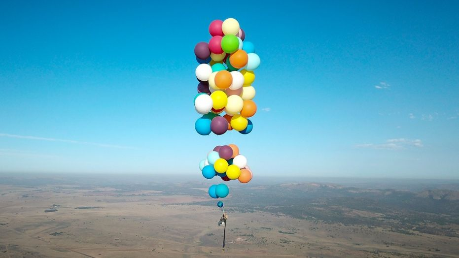 2 person camping chair cheap patio chairs up 2.0: man uses helium balloons to fly in lawn - socialunderground