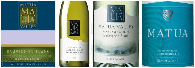 Evolution of Matua's Sauvignon Blanc label in recent years