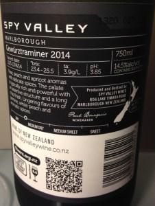Back label 2014 Spy Valley Gewurztraminer