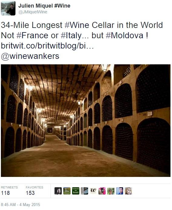 34-mile Longest wine cellar in the world in moldova - tweet by Julien Miquel
