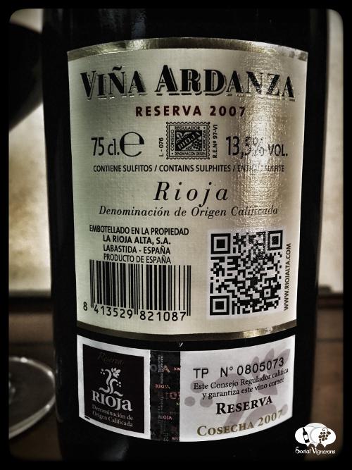 2007 La Rioja Alta Vina Ardanza bottle wine back label bodega Social Vignerons small