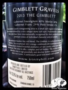 2013 Trinity Hill 'The Gimblett' Hawkes Bay Bordeaux blend New Zealand wine bottle back label social vignerons small