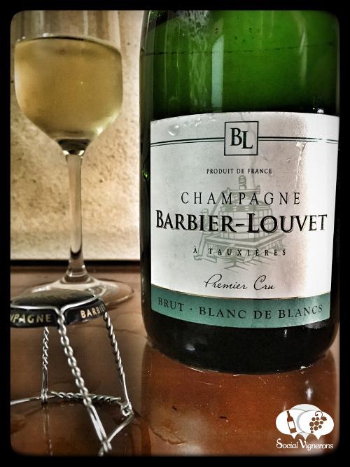 Champagne Barbier-Louvet Brut Blanc de Blancs front label wine glass bottle sparkling Chardonnay Social Vignerons small