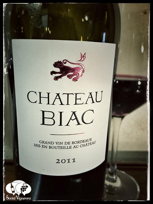 2011 Chateau Biac Cadillac Cotes de Bordeaux Red wine bottle glass cork front label Social Vignerons small