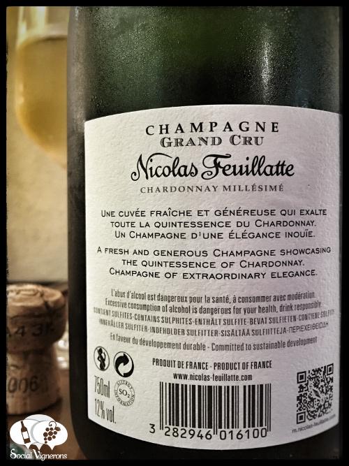 2006 Nicolas Feuillate Blanc de Blancs Millesime Chardonnay Grand Cru Champagne wine back label social vignerons