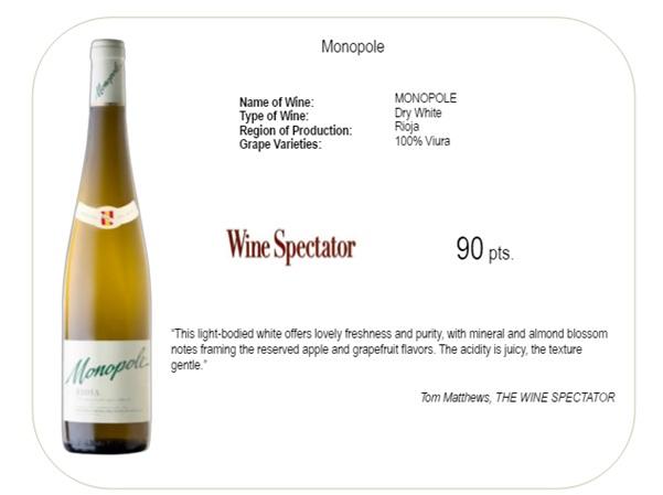 Monopole Cune wine vuira Rioja wine spectator 90 pts