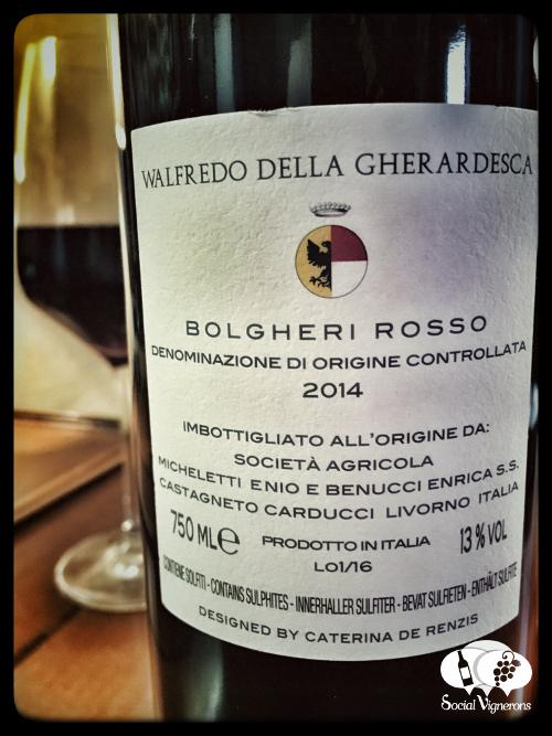 2014 Walfredo della Gherardesca Bolgheri wine bottle back label Tuscany social vignerons