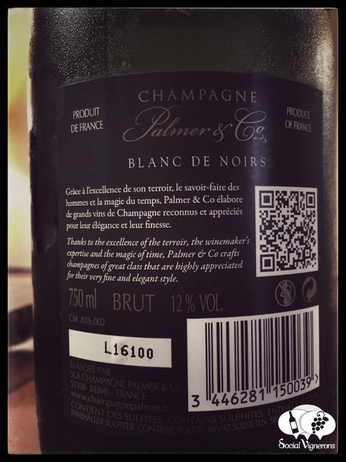 Plamer & Co Blanc de Noirs Champagne sparkling wine back label social vignerons