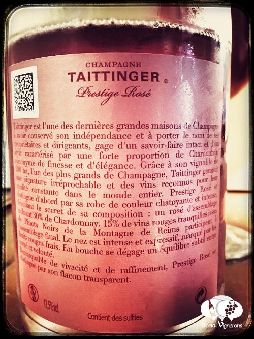 Taittinger Champagne Prestige Rose sparkling wine pink back label social vignerons small