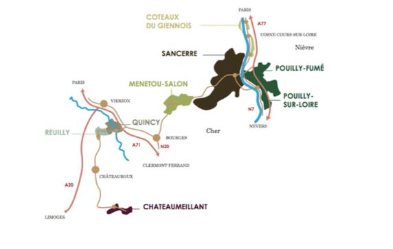 Sancerre France Map.Map Of Upper Loire Wine Region Sancerre Pouilly Fume Menetou Salon