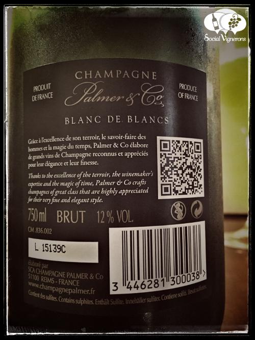 Palmer & Co Champagne Blanc de Blancs Chardonnay back label Reims France sparkling wine tasting