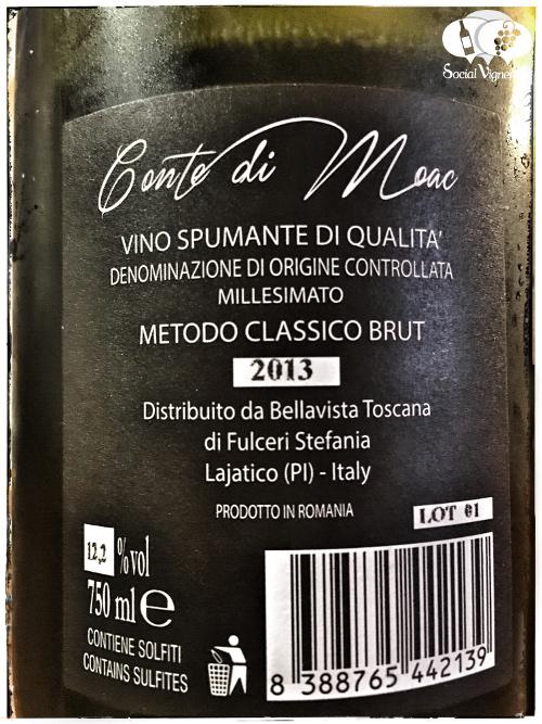 2013 Bellavista Toscana Conte di Moac Spumante Metodo Classico Brut sparkling wine back label Italy