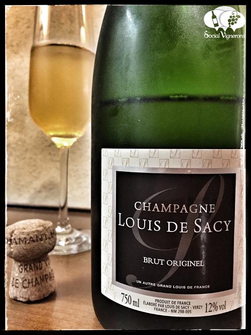 Louis de Sacy Brut Originel Champagne sparkling wine front label social vignerons