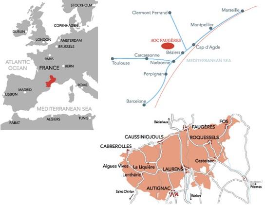 Wine Region Map Of France.Faugeres Wine Region Map Wineries Best Wines Social Vignerons