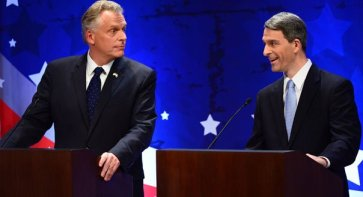Terry McAuliffe and Ken Cuccinelli debate during the race for Virginia governor. Photo by Politico.