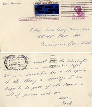 Post Card from Jack Hansan to his family in Cincinnati