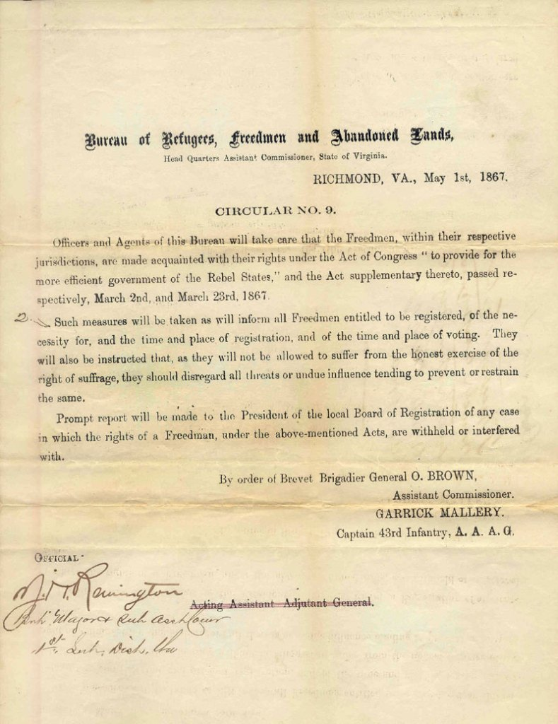 Notice of Freedman Voting Rights in Virginia, May 1, 1867